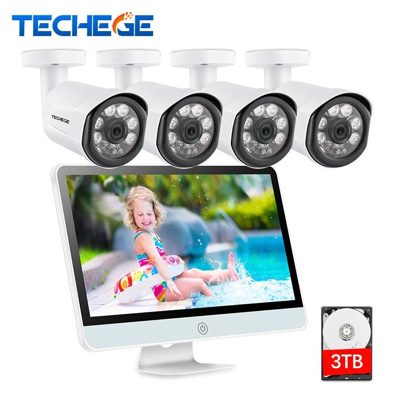 Techege 4CH 1080 P POE NVR с 15,6 ЖК дисплей Мониторы 2MP Открытый камера наблюдения для безопасности системы водостойкий товары теле и видеонаблюдения к...