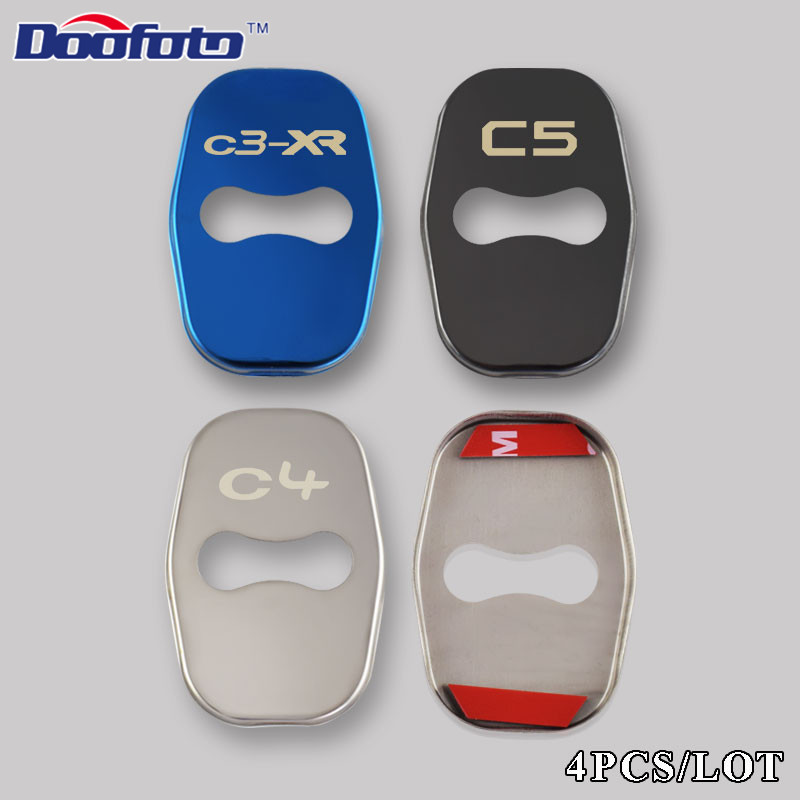 Image 2 - Doofoto Car Styling Auto Door Lock Cover Case For Citroen C4 Picasso C4L C3 XR C3 C5 DS5 Badge Stickers Accessories Car Styling-in Car Stickers from Automobiles & Motorcycles