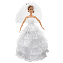 Saleaman baby Doll Dress lace doll clothes accessories white wedding dress + veil For