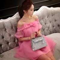 Dabuwawa ladies summer rose pink off shoulder sexy dress
