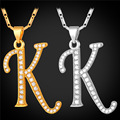 WomenMen inicial Letra K & Pingentes Colares Presente Personalizado de Jóias Colar Banhado A Ouro Alfabeto P1681