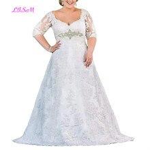 Plus Size Lace Applique Long Wedding Dress Sweetheart Half Sleeves Bridal Dress with Belt A-Line Sheer Back Tulle Wedding Gowns цена в Москве и Питере