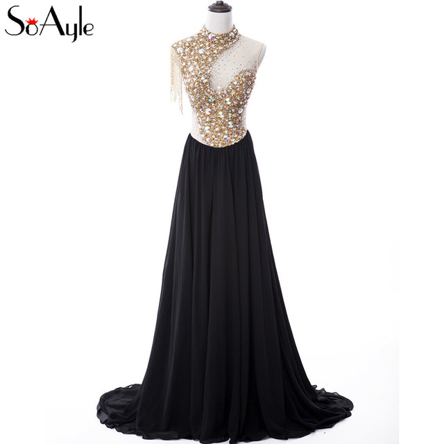 SoAyle Real Picture A-Line Chiffon Illusion Evening Dresses Beading  Crystals Bling Bling Long Dress See Through Sexy Gowns 3889e1bfca8a