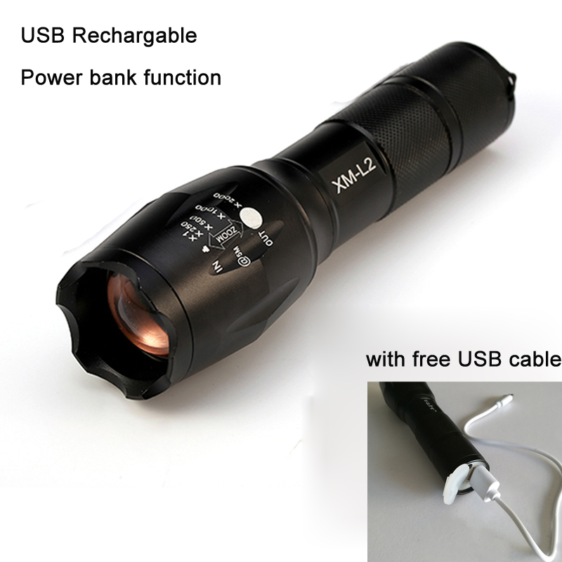 USB rechargable Flashlight 10000 Lumens Flashlight LED CREE XM-L2 T6 Torch Zoomable Flash Light Lamp Lighting With USB Cable