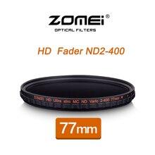 ZOMEI 77 ММ HD MC Регулируемая Переменная ND2-400 Фильтр Фейдер Нейтральной Плотности Оптического Стекла Для DSLR Объектив Камеры