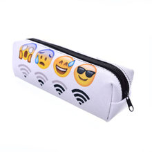 Cute White emoji pencil bags for school Kawaii Wifi 3d pencil case pen pouch Korean Stationeryoffice school supplies escolar(China)