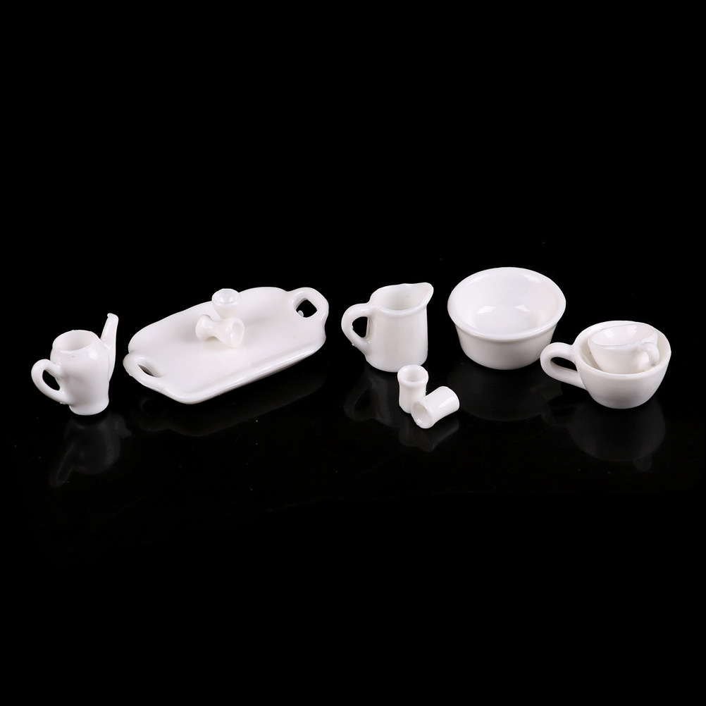 10pcs set white 1 12 Porcelain Tableware Teapot Coffee Cups Saucer Tray Plate Tea Set Pot Kitchen decor Dollhouse Miniature in Dolls Accessories from Toys Hobbies