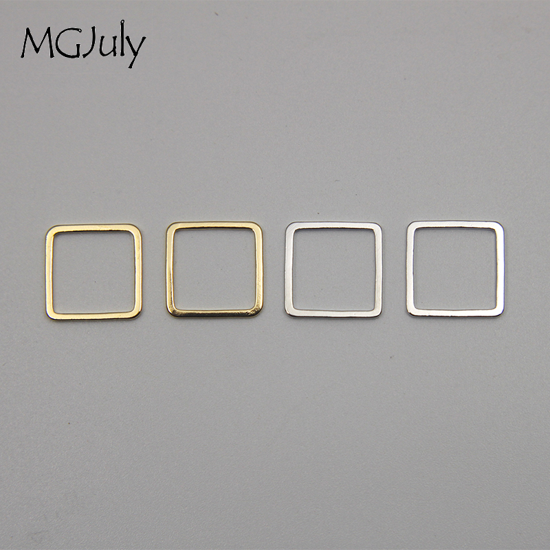 20pcs Lot 12mm Geometric Metal Square DIY Earrings Parts Gold Color Silver Color Jewelry Findings Parts Wholesale AC027 in Jewelry Findings Components from Jewelry Accessories