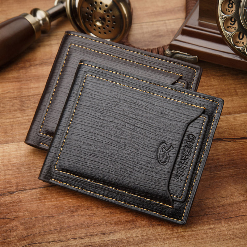 New Brand Short Mens Leather Wallet Credit Card Holders Vintage Men Trifold Male Clutch Purse For Man Coin Money Bag Clip conjunto de bolsas femininas