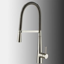 Solid Brass pull out kitchen faucet 360 rotating chrome or Brushed Nickel silver swivel Spout Vessel sink Mixer tap faucet стоимость