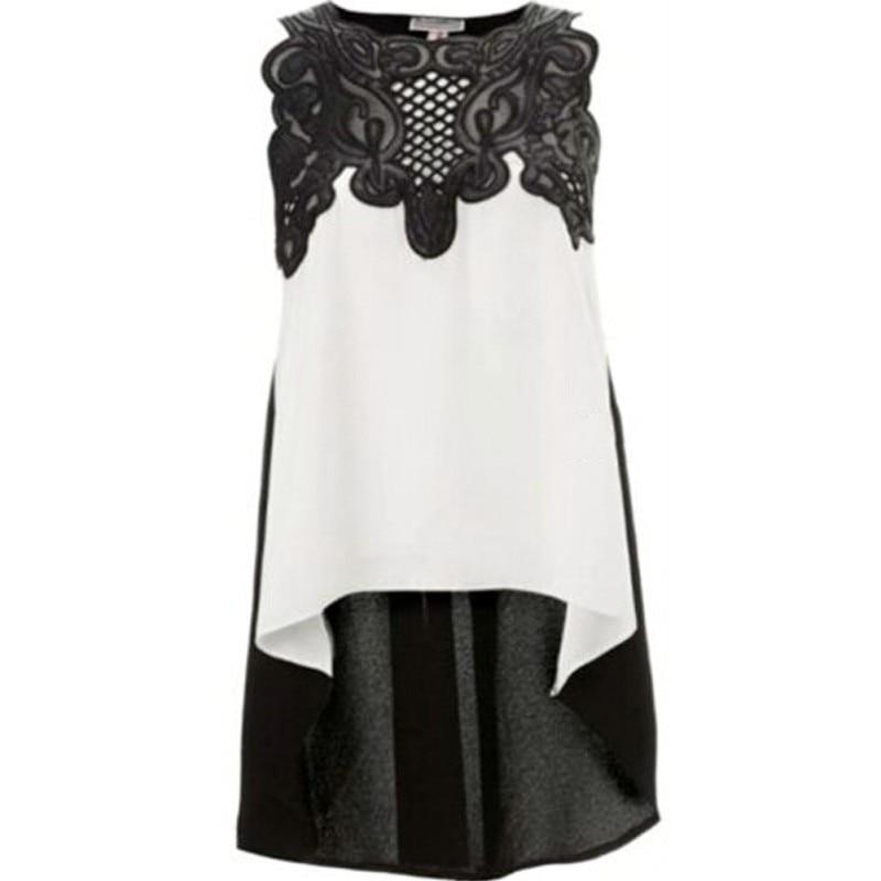 2018 Women Blouse Summer Patchwork Floral Blusas Women Sleeveless Lace Tank Tops Plus Size Women Clothing Blusa 1