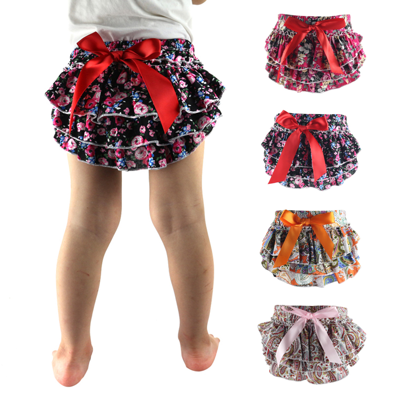 Top Fashion Baby Ruffle Bloomers Layers Diaper Cover Newborn Flower   Shorts   With Skirts Toddler Cute Summer Cotton Pants