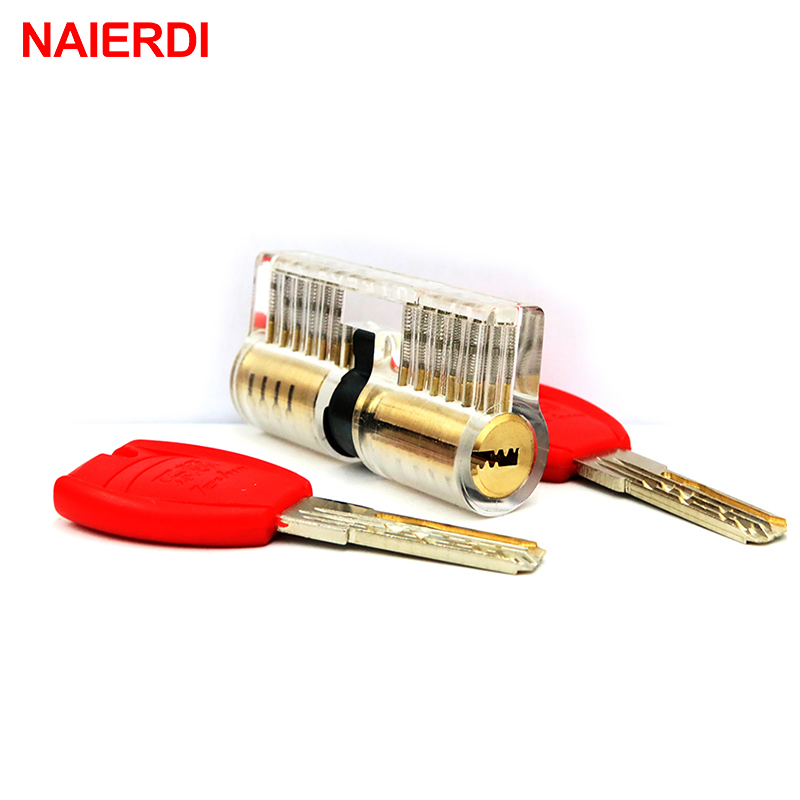 NAIERDI Cutaway Inside View Practice Transparent Padlock Lock Training Skill Pick Padlock For Locksmith Hardware With Super Keys  цены