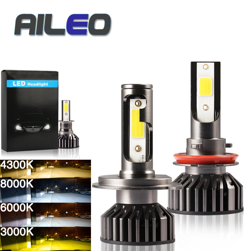 AILEO Car Headlight <font><b>9012</b></font> <font><b>LED</b></font> H4 <font><b>LED</b></font> H7/H8/9005/H3/H16(JP)/H11/H1/H9/9006 72W 8000LM 8000K 12V Auto Headlamp COB Fog Light Bulb image