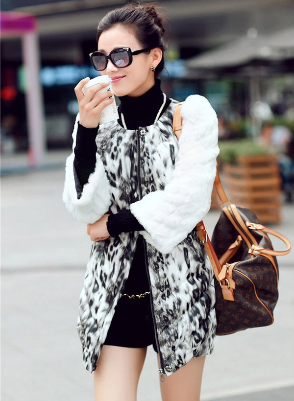 2014 Winter New Women'S O-Neck Long Pu Leather Stitching Fur Sleeve Jacket Female Fashion Pleated Slim Leopard Fur Coat H3053 женский пуховик o 8 o d827 2014