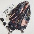 Высокое качество 2017 Весна Новый Дизайн элегантный Китайский ветер Хризантемы Хлопок Шарф Женщин Тонкий Большой Тонкие Платки Подарки важно