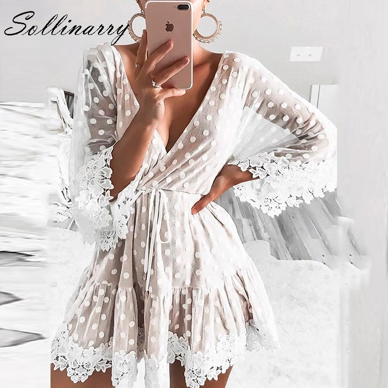 Sollinarry V Neck Dot White Mesh Lace Autumn Dress Women Sexy Party Short Winter Dress Causal Backless Flare Sleeve Robe Vestido