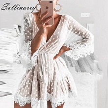 Sollinarry V Neck Dot White Mesh Lace Autumn Dress Women Sexy Party Short Winter Causal Backless Flare Sleeve Robe Vestido