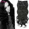 Brazilian Clip in Human Hair Extensions Body Wave Clip Ins for Black Women 7pieces set Brazilian Virgin Hair Clip In Extension