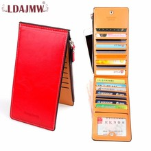 купить LDAJMW Hot Sale Slim Long Women Men Wallets Lady Female Coin Purse Card Holder Men Clutch Bags Leather Wallet дешево