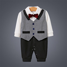 Handsome Gentleman One-Piece Jumpsuits Buttons-Up 100% Cotton Long-Sleeves Cute Absorbent Breathable Coveralls 3-18 Months