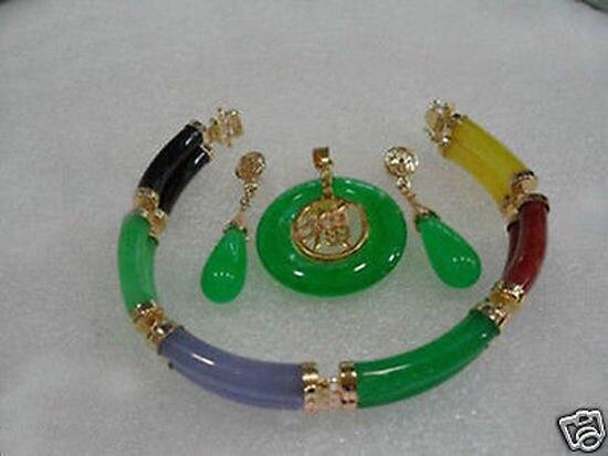 Women's Wedding Jewelry Multicolor gem Link Bracelet Green gem pendant Necklace Earring set 5.23 silver jewelry