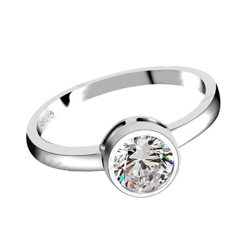 90% off รอบ Cubic Zirconia งานแต่งงานแหวน 925 Serling เงินผู้หญิงแหวนเครื่องประดับจัดส่งฟรี