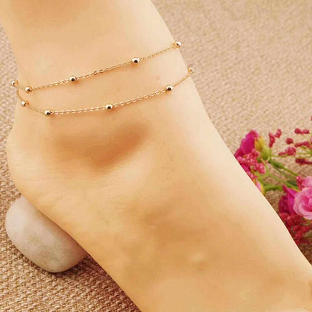 二重層チェーンリンクアンクレットジュエリーの房の足ブレスレットつま先アンクレット裸足ビーチ女性の足首のブレスレット女の子の女性のギフト