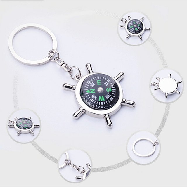 Silver Helmsman Compass key Keychain Top Quality Fashion Key Chain For Lettering Men Women Best Birthday Valentine's Day Gift