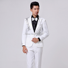 2015 male suit Costume men's clothing formal dress male suits white paillette stage clothes for singer dancer show performance