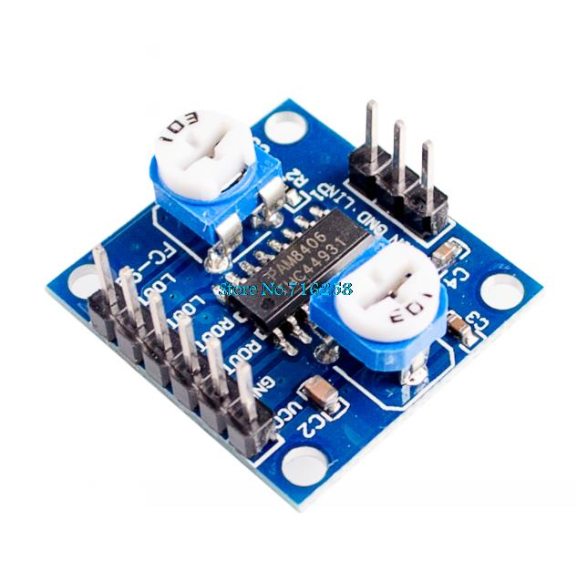 PAM8406 Digital Amplifier Board With Volume Potentiometer 5Wx2 StereoPAM8406 Digital Amplifier Board With Volume Potentiometer 5Wx2 Stereo