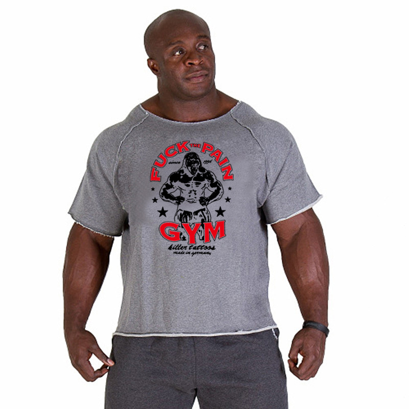 New fashion brand cotton t shirts tops men gyms Fitness shirt mens  weightlifting Bodybuilding workout gym vest fitness men tee