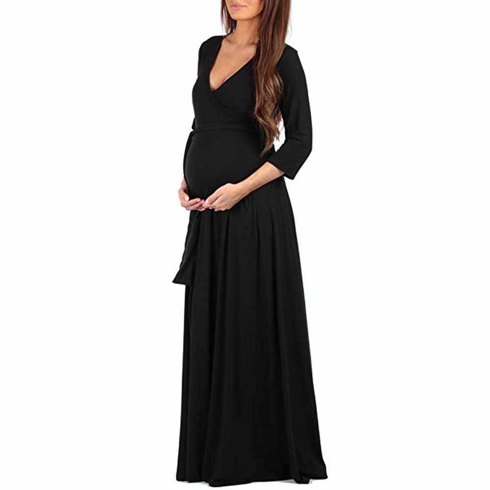 Vestido de maternidad con cuello en V y manga larga holgado con cinturón ajustable para mujer embarazada