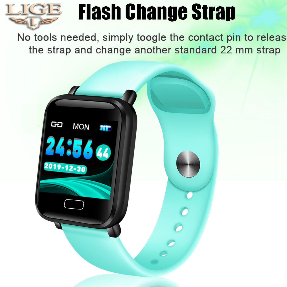LIGE Light Blue Smart Sports Watch Waterproof Fitness Bracelet Blood Pressure Heart Rate Monitoring Pedometer Smart Watch Men