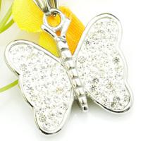 Silver Butterfly Pendant Necklace For Women 316L Stainless Steel Rhinestone Charm Fashion Romantic Jewelry Party Gifts