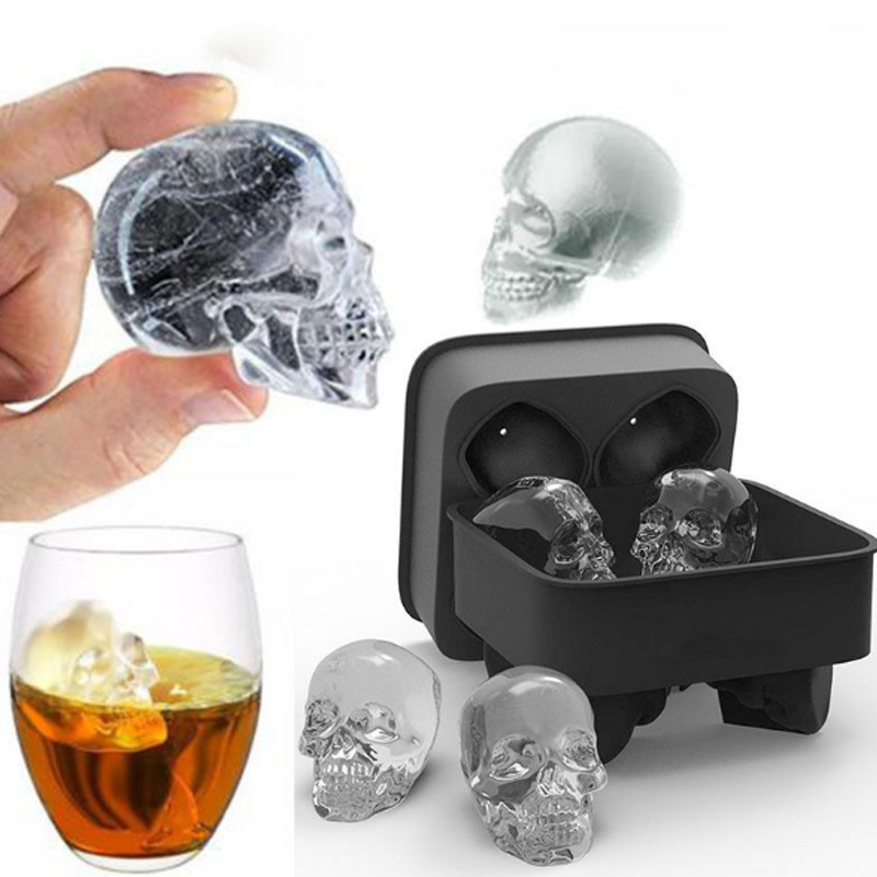 Sale 1PC Hot Large Ice Cube Tray Pudding Mold 3D Skull Silicone 4-Cavity DIY Ice Maker Household Use