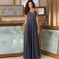 Sexy de encaje gris vestidos de baile sin mangas de la correa de espagueti larga un line vestidos de noche formales 2017 nueva llegada vestido de noche