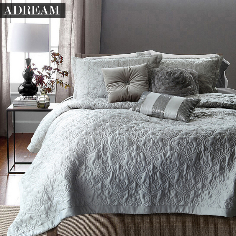 adream faux silk cotton bedspread coverlet quilt grey quilted bedspreads white stitching comforter queen king bed - Bedspreads King Size