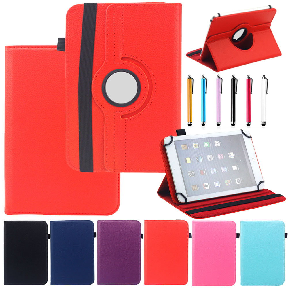 360 degrees Rotate7 Universal PU Leather Cover Case Skin For 7 Inch tablet PC Flip Stand Case Protector Shell Skin Capa Stylus