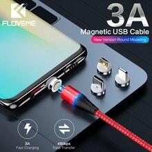 FLOVEME 3A Магнитный кабель Micro USB кабель для зарядки Магнитный кабель для зарядки Microusb код для samsung Xiaomi Redmi Note 5 Быстрая зарядка