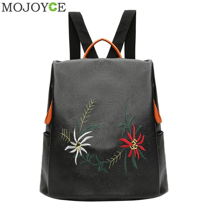 Women Embroidery Flower Backpack Autumn Winter All-Match PU Leather Shoulder Bag Soft Backpacks for Teenager Girls Travel Daybag zooler women s backpack eyes sequined designer black cartoon eyes backpacks travel bag cute shell backpacks for teenager girls