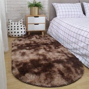 Image 4 - Halı yatak odası oval başucu halı oturma odası kanepe sehpa mat zemin odası peluş halı değil lint olmayan solma kaymaz battaniye
