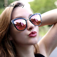 High Quality Cat Eye Women Sunglasses Gold Metal Gafas de sol Reflective Summer Pink Glasses Vintage Sexy Cateye