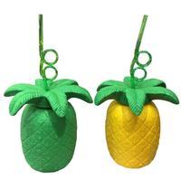 Nueva Piña Amarilla De Plástico Paja Botella de Agua Con Hojas de Piña Tropical Hawaiian Luau Party Favors Decoración Linda L50