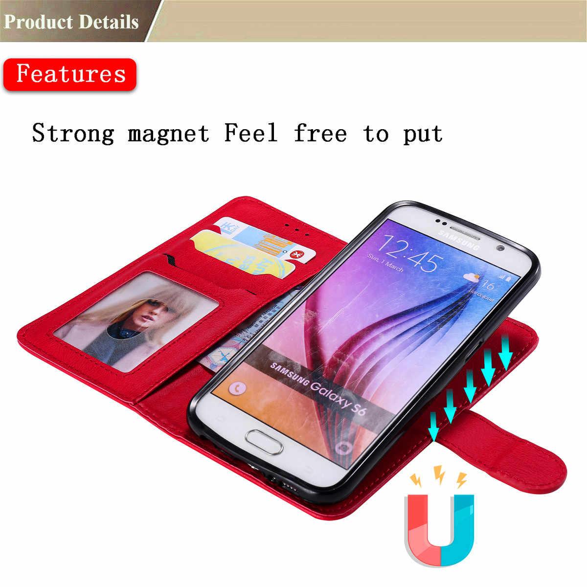 Flip cuero de la PU + cartera, caso de la cubierta para Samsung Galaxy S8 más S9 más S3 S4 S5 S7 S6 borde plus nota 3 Nota 4 Nota 8 9 teléfono caso
