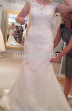 Fishtail V Neck Vestidos De Casamento Noiva 2015 Sweep Train Lace Appliqued White Ivory Wedding Dress AS49