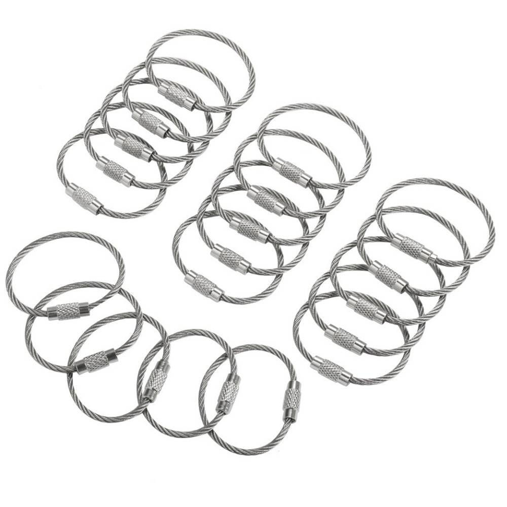 10Pcs 1.5/2mm EDC Keychain Tag Rope Stainless Steel Wire Cable Loop Screw Lock Gadget Ring Key Keyring Circle Camp Hand Tool Set