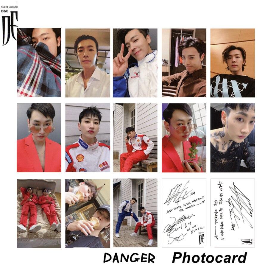 Kpop Super Junior D&E New Album Autograph Photocard Dong Hae Collective Cards Eun Hyuk Danger Paper Photo Cards Photograph