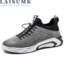 LAISUMK Leather Sneakers for Men Fashion Brand Shoes Soft Pig Mens Casual Male