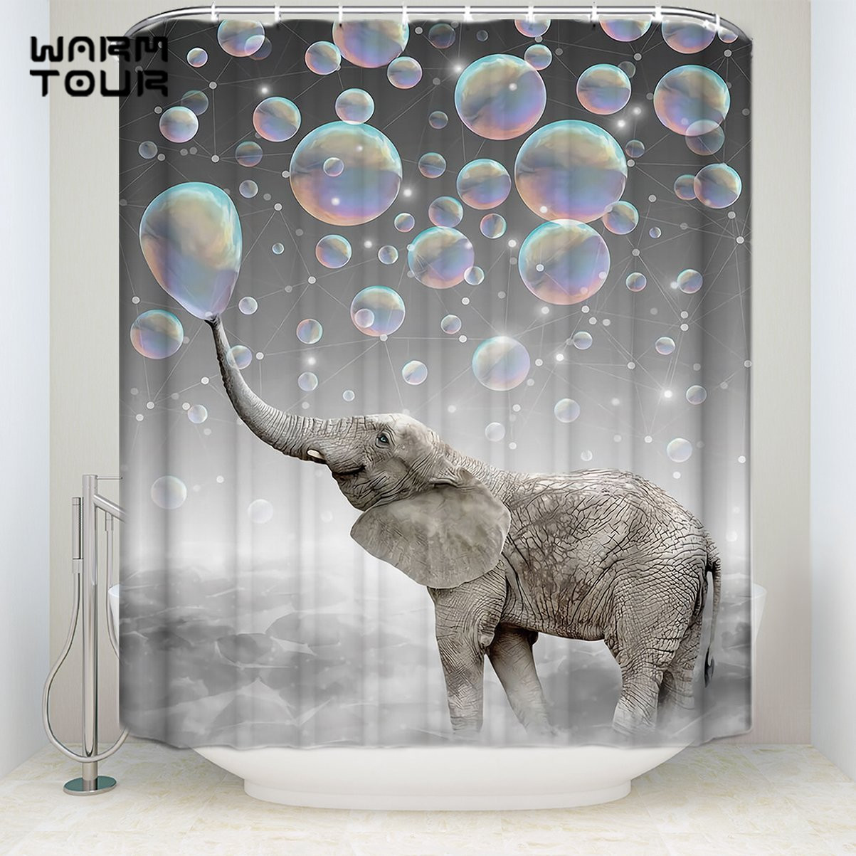 Ball Elephant Waterproof Bathroom Polyester Shower Curtain Liner Water Resistant